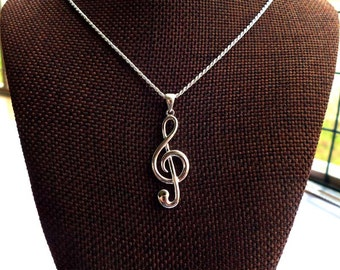 Music Symbol Necklace in Solid Sterling Silver