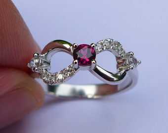 Infinity Ring in Sterling Silver&Garnet All Sizes(5 to 16)