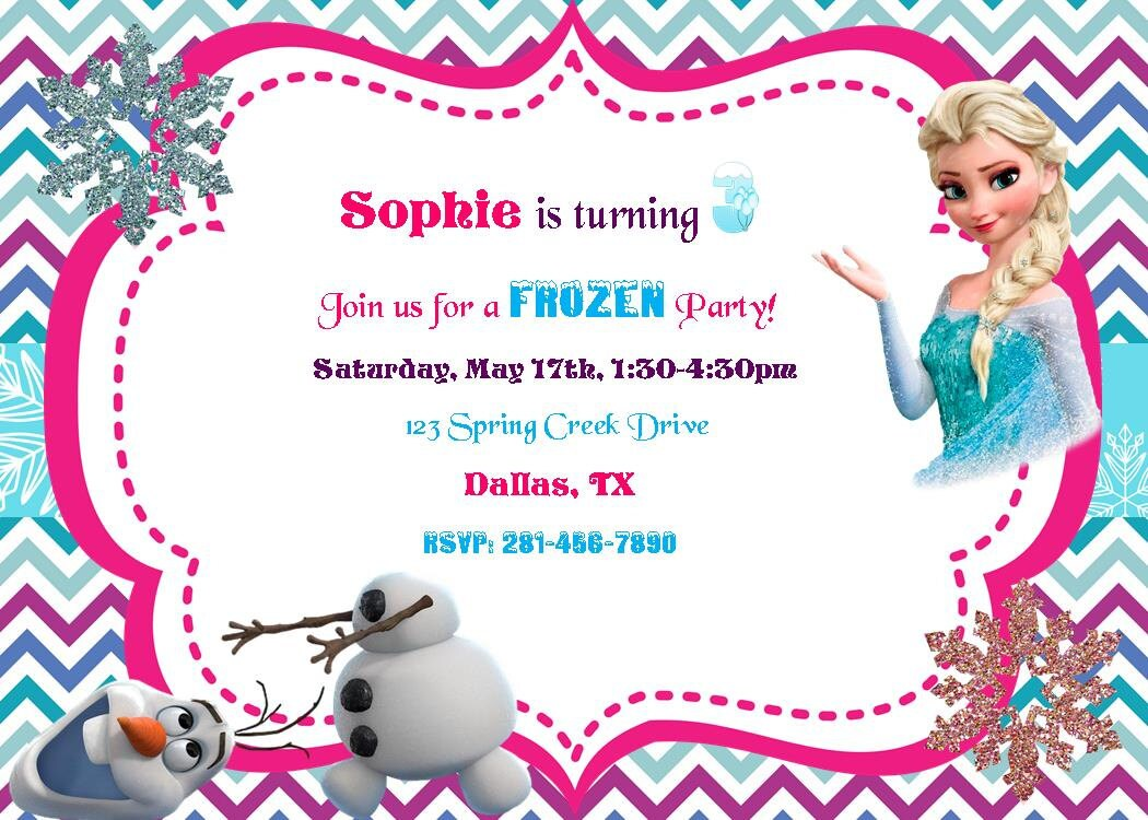 frozen olaf invitation birthday party baby shower digital diy