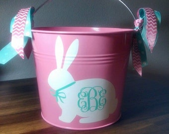 Personalized Easter Pail with White Bunny and monogram. Perfect for your little ones first Easter Egg Hunt, or gifts from the Easter Bunny!