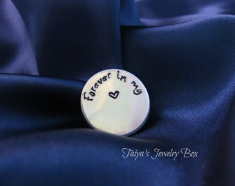 Forever In My Heart Locket Plate - Floating Locket Plate - Personalized Locket Plate