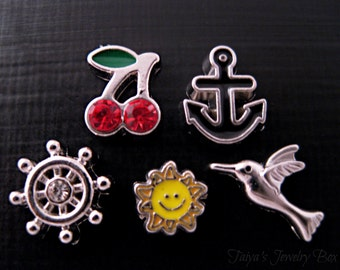 Summer Locket Charms - Floating Locket Charms - Cherry,Anchor,Ship Wheel,Sun,Humming Bird Charms