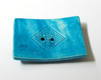Soap dish, turquoise color, rectangular, big size, clay, Home Decor, housewarming gift, bath and beauty