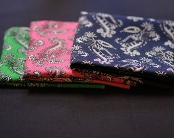 "3 typical mexican shawls/scarfs/ ""paliacates"" package (green, pink and blue)"