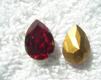 6 Vintage Swarovski Crystals, siam (red) , pear shaped, gold foiled, 14x10mm item# 008