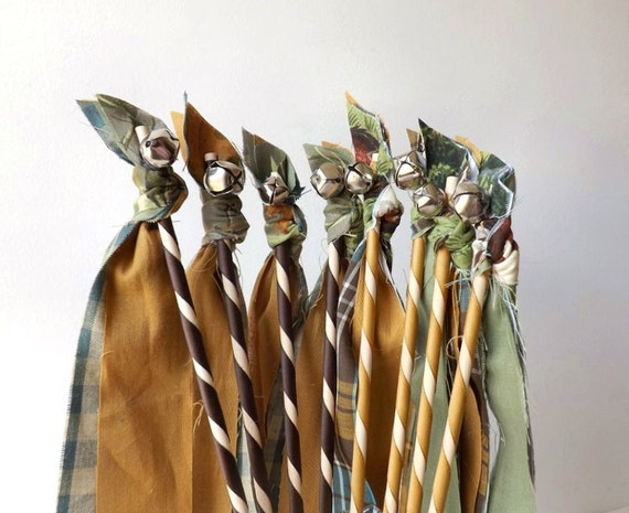 12 Boy Birthday Streamer Wands Choice of Western Cowboy or Camper Camo Country Western Wedding Party Favors