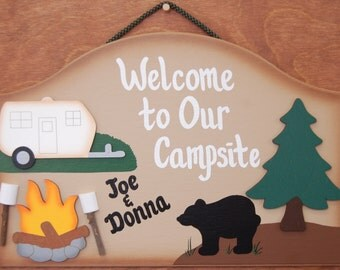 Personalized-Wood Outdoor Camping Sign - Welcome to Our Campsite