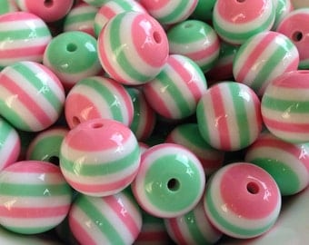 20mm Pink, Mint Green & White Striped Beads