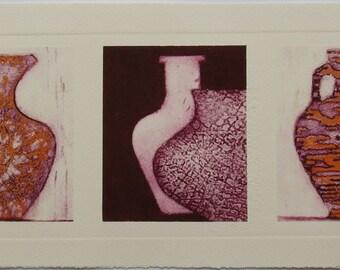 Roman Pots V - An Original Collograph Print