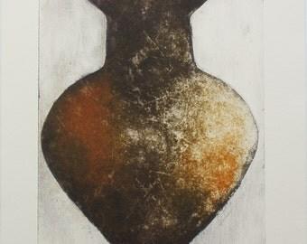 Roman Pot X - An Original Collograph Print
