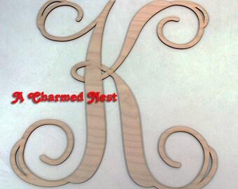 """20"""" Wooden Monogram Initials - Wooden Initials -  Single Vine Letter - Unconnected Wooden Monogram Letters - Door Hanger - Wall Hanging"""