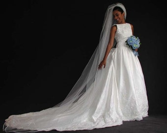 "Wedding veil - Cathedral wedding veil 108"" long with Satin corded/rattail ribbon"