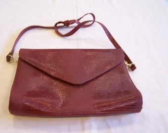 Red Almondo purse, faux lizard