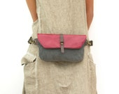 Leather and Canvas Fanny Pack - Hip Bag - Traveler Bag - Utility Hip Belt - Hip Pouch