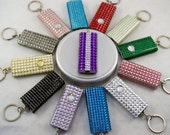 Mini flashlights, selection of colors, acrylic crystal 'bling', back w crystal button cover; variety of colors or multi-color combinations