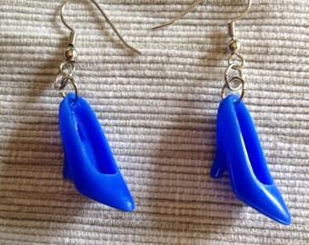 Blue Barbie Shoe Earrings