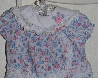 Vintage baby dress blue floral, Cradle Togs Dress for 6-9 Mo