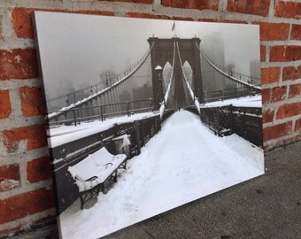 Gallery wrapped print 18x25, Brooklyn Bridge Snow Scene, New York