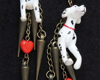 the Dalmatians and Red Heart Earrings