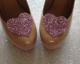 Vintage Purple Glitter Heart Shoe Clips