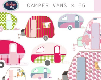 Campervan clip art CAMPER VANS Retro clip art Retro campers Vintage campers travel trailer Camping Floral clip art Png clip art caravan