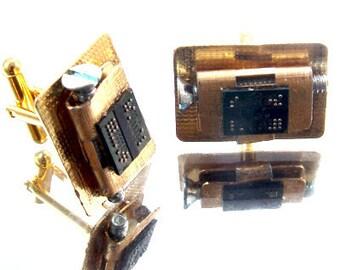 RARE Techno Circuit Board Cufflinks, MODERN, Futuristic, by Kay, 5204