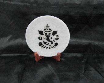 Wall Plate Decorative Plaques White Marble Semiprecious Stone Inlaid Pietra Dura Good Luck Ganesha Design
