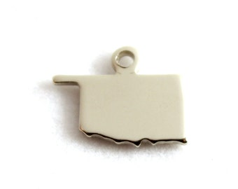 2x Silver Plated Blank Oklahoma State Charms - M070-OK