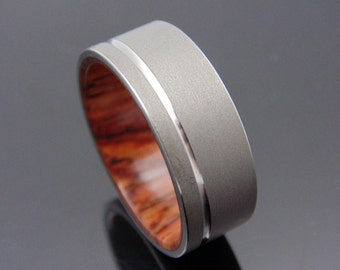 Cocobolo Wood ring with blasted Titanium , Polished groove