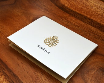 Die-Cut Pine Cone Thank You Card in Light Brown