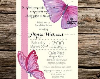 Butterfly Ribbon Baby Shower Invitation