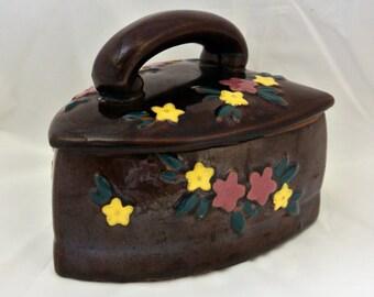 Vintage Brown Ceramic Iron Candy Dish or Trinket Box