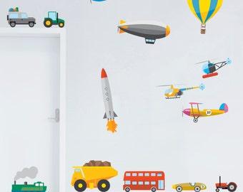 Transport Vehicles Children's Bedroom Wall Stickers Decals