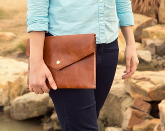 Light Brown Leather Over-sized Clutch
