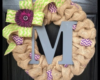 Chevron Burlap Wreath with Flower and Initial- Front Door Wreath-Monogram Wreath- Spring Wreath- Fall Wreath