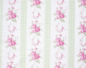 Tanya Whelan SLIPPER ROSES Shabby Chic Fabric Country Ticking In Green 1 Yard