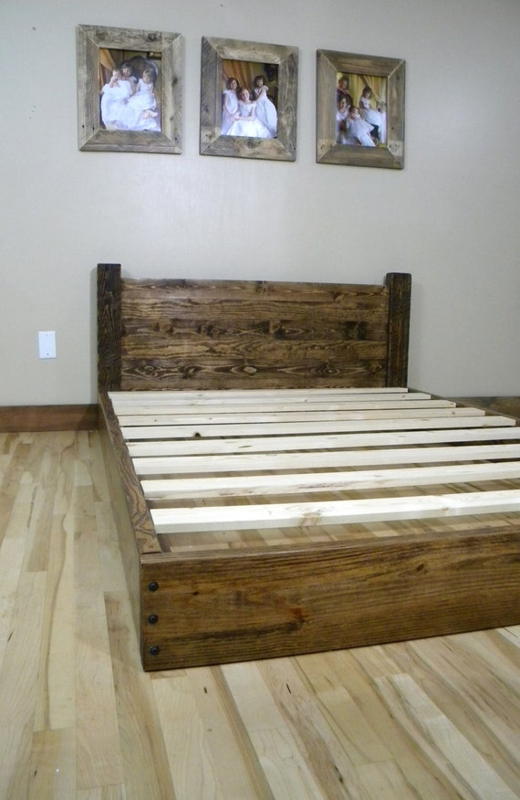 Platform bed reclaimed wood full queen king by for Diy rustic bunk beds