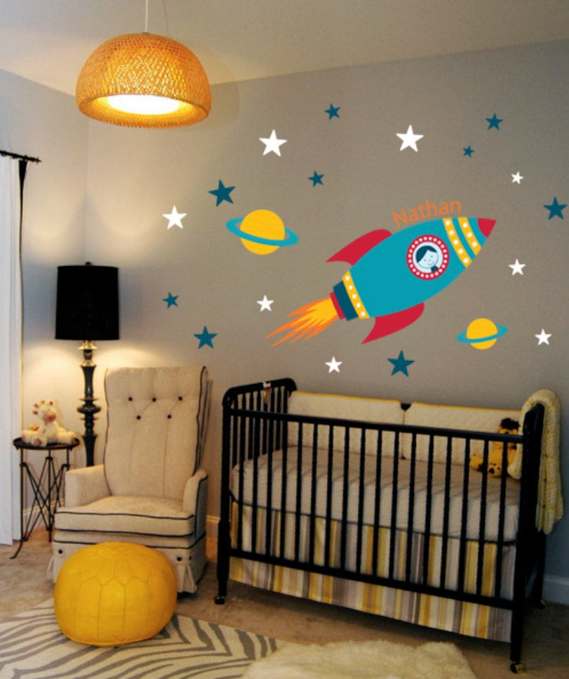 Rocket wall decal boys name outer space kids room custom for Space themed curtains
