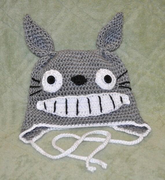 Knitting Pattern For Totoro Hat : TOTORO Inspired BUNNY HAT Earflap Ties Teen by BeverlyAnnsBabies