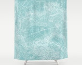 Map Shower Curtain - Arctic Teal map - Home Decor - Bathroom - maps, teal, ice, cool, travel decor , wanderlust unique