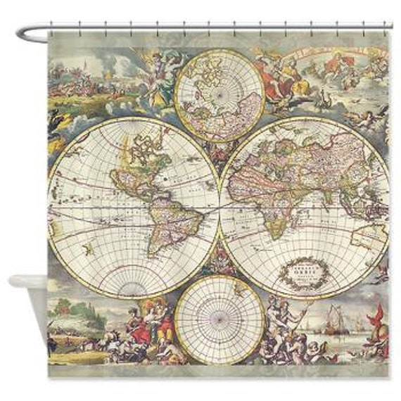 World Map Shower Curtain Frederic de Wit map Classic