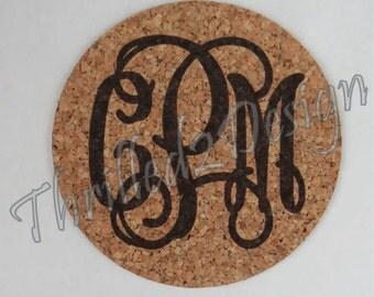 Monogram Cork Coaster Set of 4- Personalize, Wedding, Home Decor