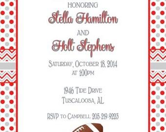Polka Dots with Chevron Alabama Invitation