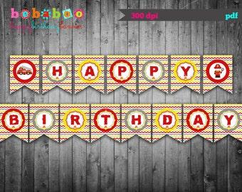Firetruck Happy Birthday Banner / Firetruck Birthday Party Digital Printable/ Firefighter Banner / Firetruck Banner / Printable Banner