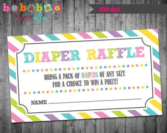 Baby Shower Diaper Raffle Ticket/Girl Diaper Raffle/Chevron Diaper Raffle Ticket/Diaper Raffle Ticket/Baby Shower Card/Girl/Printable/Boy