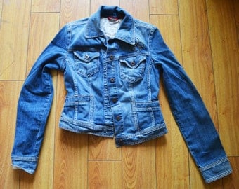 Guess jean jacket, Girls, Guess,studded,Jean Jacket,  Blue ,Denim ,Coat ,Medium