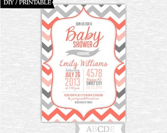 Coral and Grey Girl Baby Shower Invitation Chevron DIY Printable (PDCH003)