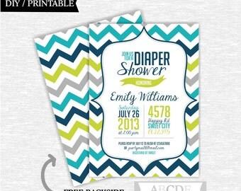 Boy Diaper Shower invitation Chevron DIY Printable (PDCH002)