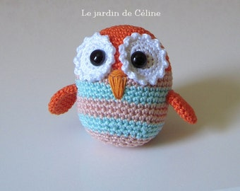Little summer owl - tricolor- orange with powder pink and aqua mint stripes - crocheted in cotton