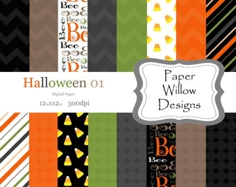 Halloween 01-(16)-12x12 Digital Papers-300dpi-Halloween-Boo-Candy Corn-Orange-Green-Black-Brown-Happy Halloween- Holiday